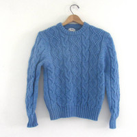 25% OFF STOREWIDE! vintage robins egg blue fishermans sweater // Woolrich cable knit sweater / women's size M