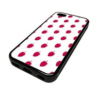 For Apple Iphone 5 or 5s Cute Phone Cases for Girls White Strawberry Fruit Pattern Design Cover Skin Black Rubber Silicone Teen Gift Vintage Hipster Fashion Design Art Print Cell Phone Accessories