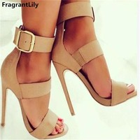 FragrantLily Latest Women Open Toe Ankle Strap Sandals Fashion High Heels Gladiator Shoes Woman Sandals Zapatos Mujer Tacones