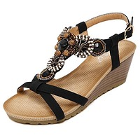 Summer new fashion women sandals bohemian beaded casual comfortable buckle slope woman sandals large size sandals