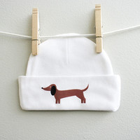 Dachshund Infant Baby Beanie for baby girl or baby boy