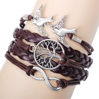 Women's Brown Handmade Leather Infinity Bracelet with Silver Peace Doves Tree of Life and Infinity Charms