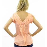 SZ SMALL Lacey Grace Coral Bow Back Top