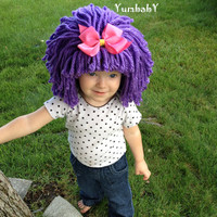 Halloween Costume, Baby Hat, Clown Costume, costumes for kids, toddler Costume, Yarn Wig, Raggedy Ann Wig, Pageant Clothes