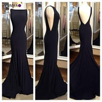 New brand simple design fit long black mermaid prom dresses with open back swap train gala gowns  2016 for teenage fast shipping