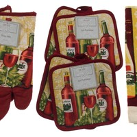 Wine Bottles Grapes Oven Mitt Gloves Pot Holders Towels Set 8 Kitchen