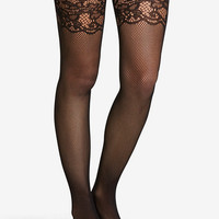 Jacquard Lace Top Thigh Highs