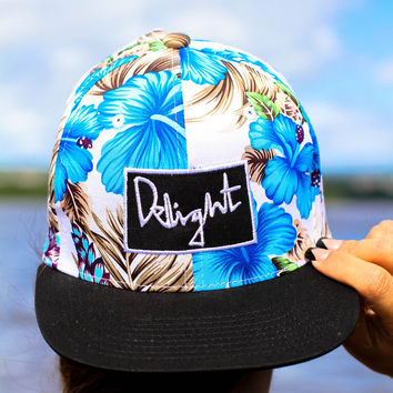 Blue Hawaii Floral Snapback — Delight Brand Clothing