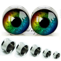 Color Eyes ball   Double Flare steel  plugs,womens plugs,Body Piercing Gifts,0g plugs,00 plug,birthday presents for him,groom &bride gift