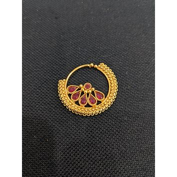 Cut flower design gold plated Indian Nose Ring
