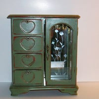 Vintage Recycled Olive Green Jewelry Box