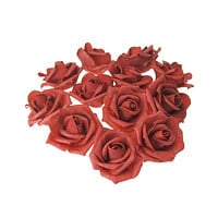 Foam Roses Flower Head Embellishment, 3-Inch, 12-Count, Red