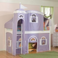 Bolton Furniture Windsor Twin Low Loft Bed with Castle Tent and Built-In Ladder