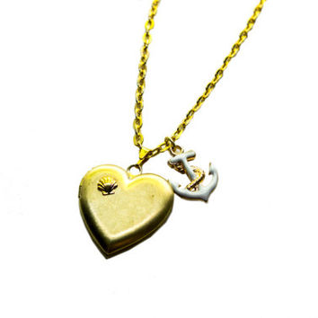 heart-shaped gold locket necklace with anchor