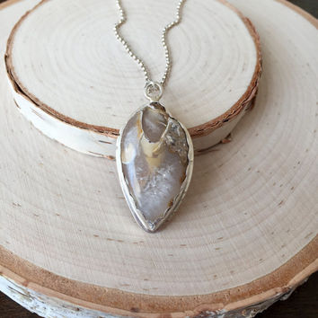 Unique, Crystalized Fossil Shell Pendant in Handmade .925 Sterling Silver, Scalloped Bezel with Polished Rolo Chain, Seashell Necklace, Gift