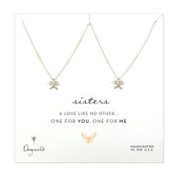 one for you one for me sisters bow necklaces, sterling silver