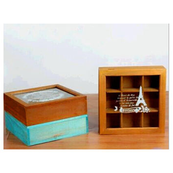 Zakka Retro Vintage 9 Cabinets Jewelry Storage Wooden Box Clear Cover    Yellow Tower