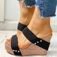 Leisure Women Comfortable Wedges Shoes On Stock Sandals Woman Platform High Heels Shoes Woman
