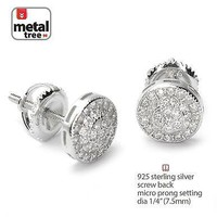 Jewelry Kay style Men's 925 Silver Micro Pave Double Round Screw Back Stud Hip Hop Earrings 452 S