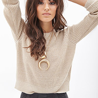 FOREVER 21 Metallic-Knit Sweater Taupe/Gold