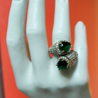 925 Sterling silver   Emerald Ring, Statement ring,  Cocktail ring , Adjustable ring, ,Modern,Handmade,Specially Designed