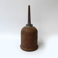 Vintage collectable rustic brass and metal oil can
