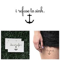 Anchor Quote Temporary Tattoo (Set of 2)