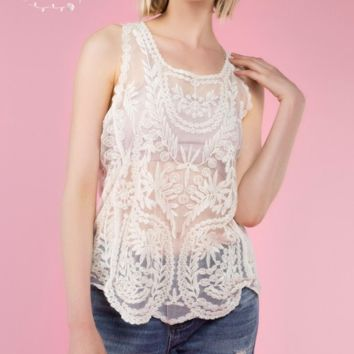 Scalloped Edge Lace Tank - Natural - S, M & L