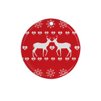 "Suzanne Carter ""Christmas Deer 2"" Holiday Pattern Ceramic Circle Ornament"