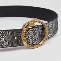 My Accessories Snake Belt with Gold Snake Buckle at asos.com