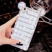 handmade diamond iphone 7 6 6s plus case Superior Quality cover + Free Gift Cute Elephant Ring