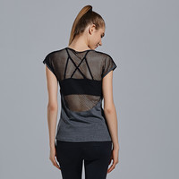 Short Sleeve Sexy Lace Patchwork Gym Sports T-shirts [9796882255]