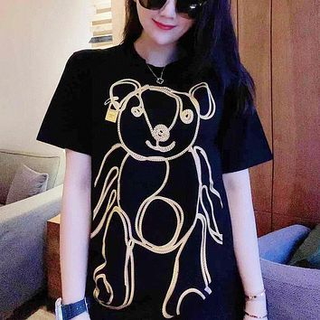 """"""" Moschino"""" Woman Gold Casual Fashion Letter Solid Color Cute Printing Loose Large Size Short Sleeve T-Shirt Tops"""