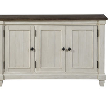 Home Elegance HE-5627W-40 Willow bend antique white rosy brown finish wood server buffet console cabinet