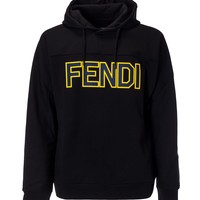Yellow Logo Black Hoodie by Fendi