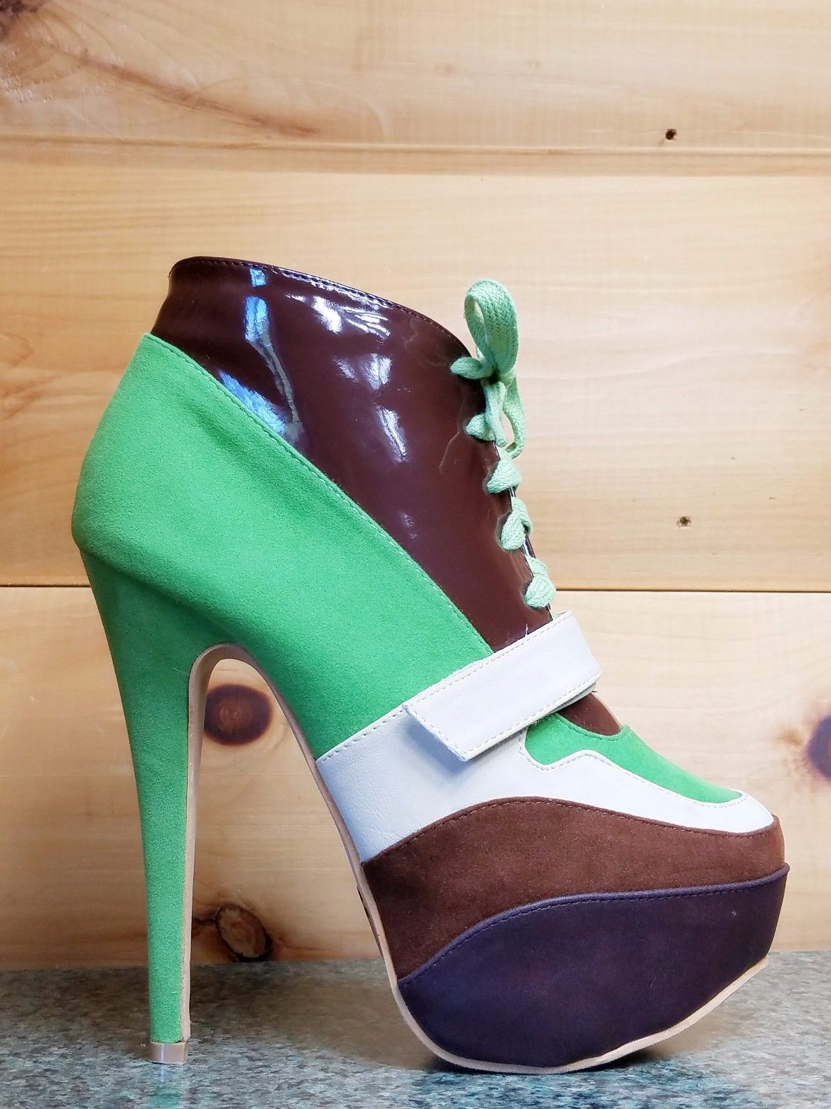 """Image of Mona Mia 5"""" High Heel Sneaker Boot Lace Up Front Green"""