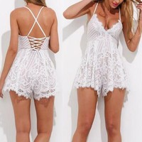 Scalloped Lace Straps Romper Jumpsuit