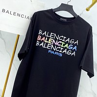 BALENCIAGA New Women Men Casual Print Short Sleeve Cotton T-Shirt Top