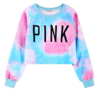 """Cute pink blue Gradient color """"PINK"""" letters print sweater for women crop top"""