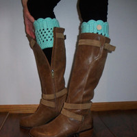Turquoise Knit Crochet Boot Topper