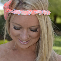 PINK PEWTER- neon coral chain flexi wrap
