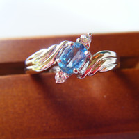 Blue and White Topaz Ring Size 10 Vintage Sterling