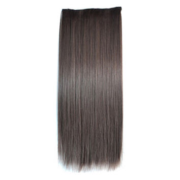 5 Cards Long Straight Hair Extension Wig black brown