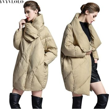 YVYVLOLO Winter Jacket Women 2017 European design Loose Women's Down Jacket Parka Cocoon type Winter warm Coat Female Clothing