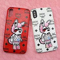 MCM Fashion New Letter Embroidery Animal Rabbit Women Men Personality Protective Cover Phone Case