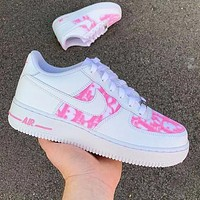 Nike Air Force 1 x Dior Print Sneakers Women Men Trending Shoes White+pink
