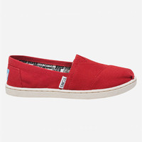 Toms Kids Canvas Classic Slip-Ons Red  In Sizes