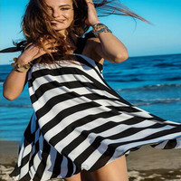 Black And White Striped Chiffon Swing Dress