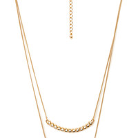 FOREVER 21 Double Crescent Pendant Necklace Gold/Clear One