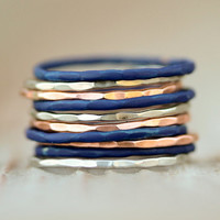 10 Hammered Stacking Skinny STARRY NIGHT Rings in Tones Silver Rose and Dazzling Blue Delicate Spring Fashion - Starry Night Collection